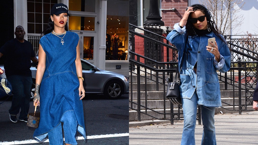 Celebs in Canadian Tuxedos, like Zoe Kravtiz and Rihanna, will definitely convince you that denim on denim is a look